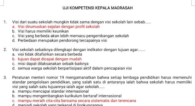 Soal dan Kunci jawaban Assesmen Kepala Madrasah terbaru