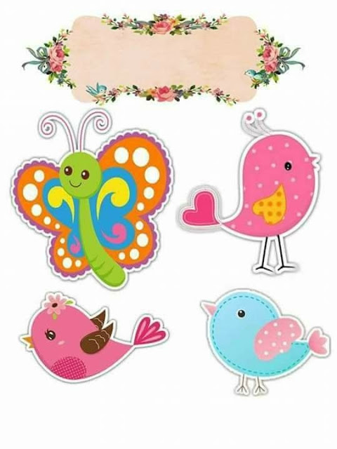 Birds and Butterflies Free Printable Cake Toppers.