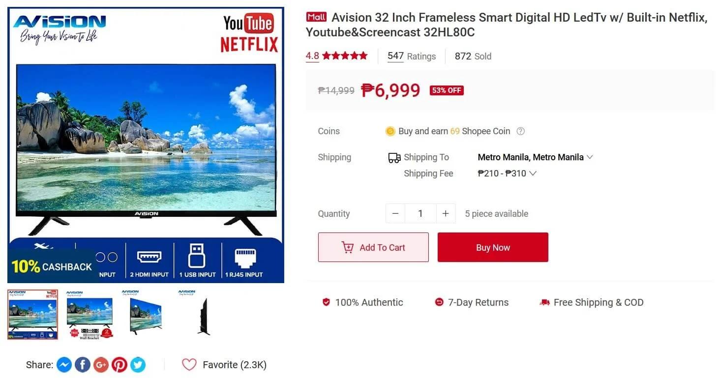 Avision 32-inch Frameless Smart Digital HD LED TV