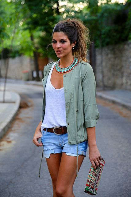 Casual outfit, Denim Shorts, White Top, Green Parka