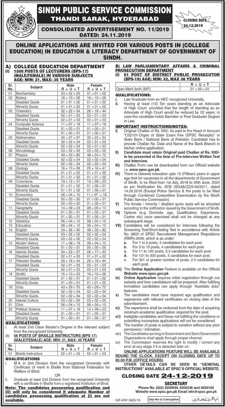 SPSC – SINDH PUBLIC SERVICE COMMISSION (AD NO. 11/2019) Latest Jobs Advertisement – Apply Online