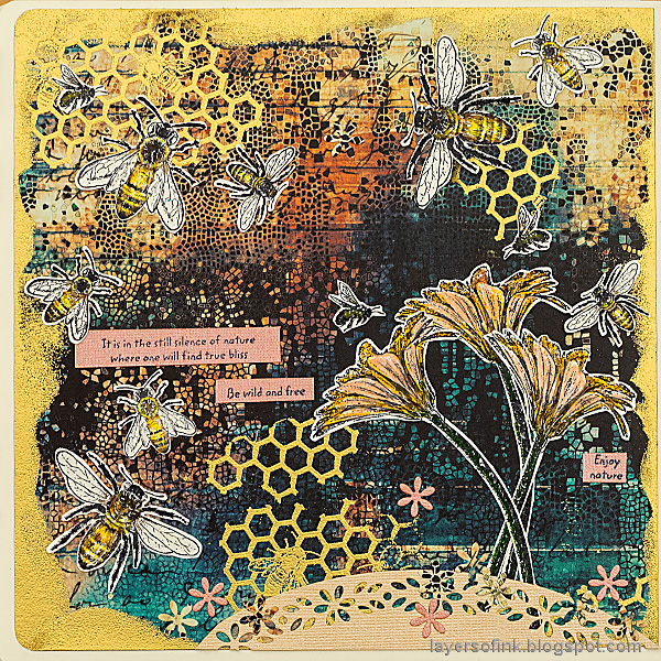 Layers of ink - Buzzing Bees Art Journal Page by Anna-Karin Evaldsson. With stamps by Darkroom Door.