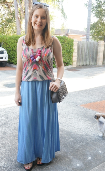 Sass & Bide neon tank chambray noisy may denim maxi skirt teething necklace outfit | Away From Blue