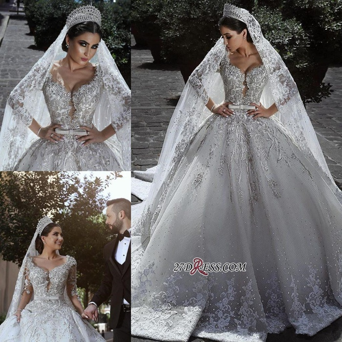 https://www.27dress.com/p/glamorous-long-sleeve-lace-appliques-ball-gown-tulle-wedding-dress-109453.html