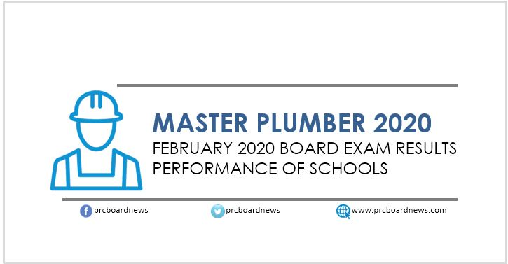 Performance of Schools: February 2020 Master Plumber board exam result