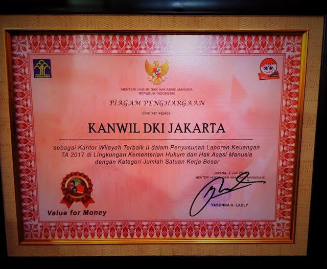 Provinsi DKI Jakarta Meraih Penghargaan Sebagai Kota Peduli Ham