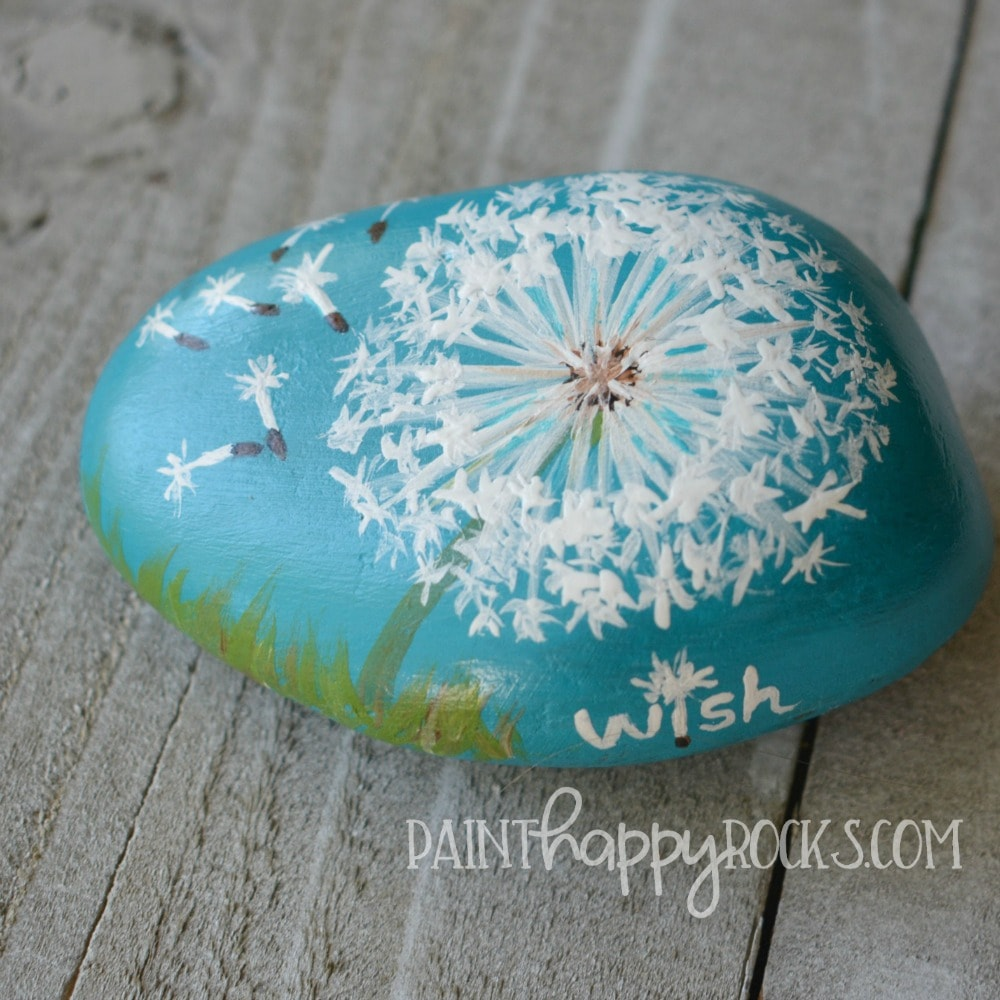 Dandelion wish kindness rock painting tutorial