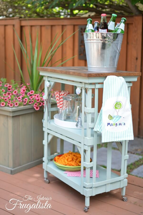 Portable Outdoor Beverage Cart Repurposed Table