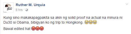 Free Trip To Hong Kong For Anyone Who Can Prove That Duterte Cursed US President Obama!