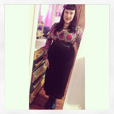 Bridget Eileen Plus Size Pin Up in boho and pinup hybrid plus size outfit for work in fuchsia, green and black
