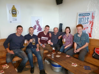 The 'Pro' and 'Semi-Pro' Minigolfers take a 'refreshment break' at the Camden Town Brewery during The Brewmaster's Open tournament