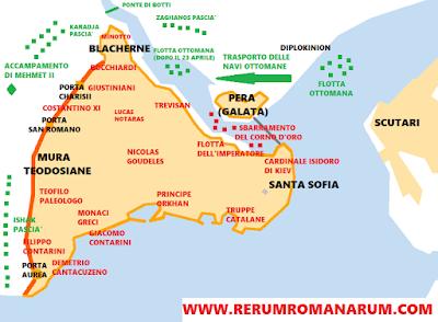Mappa assedio Costantinopoli