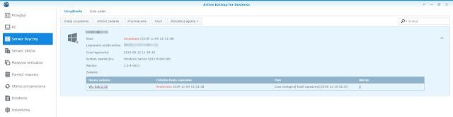 Active Backup for Business zakładka Serwer fizyczny
