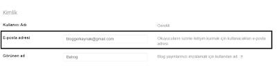 Blogger iletişim formu e-mail adresi belirleme