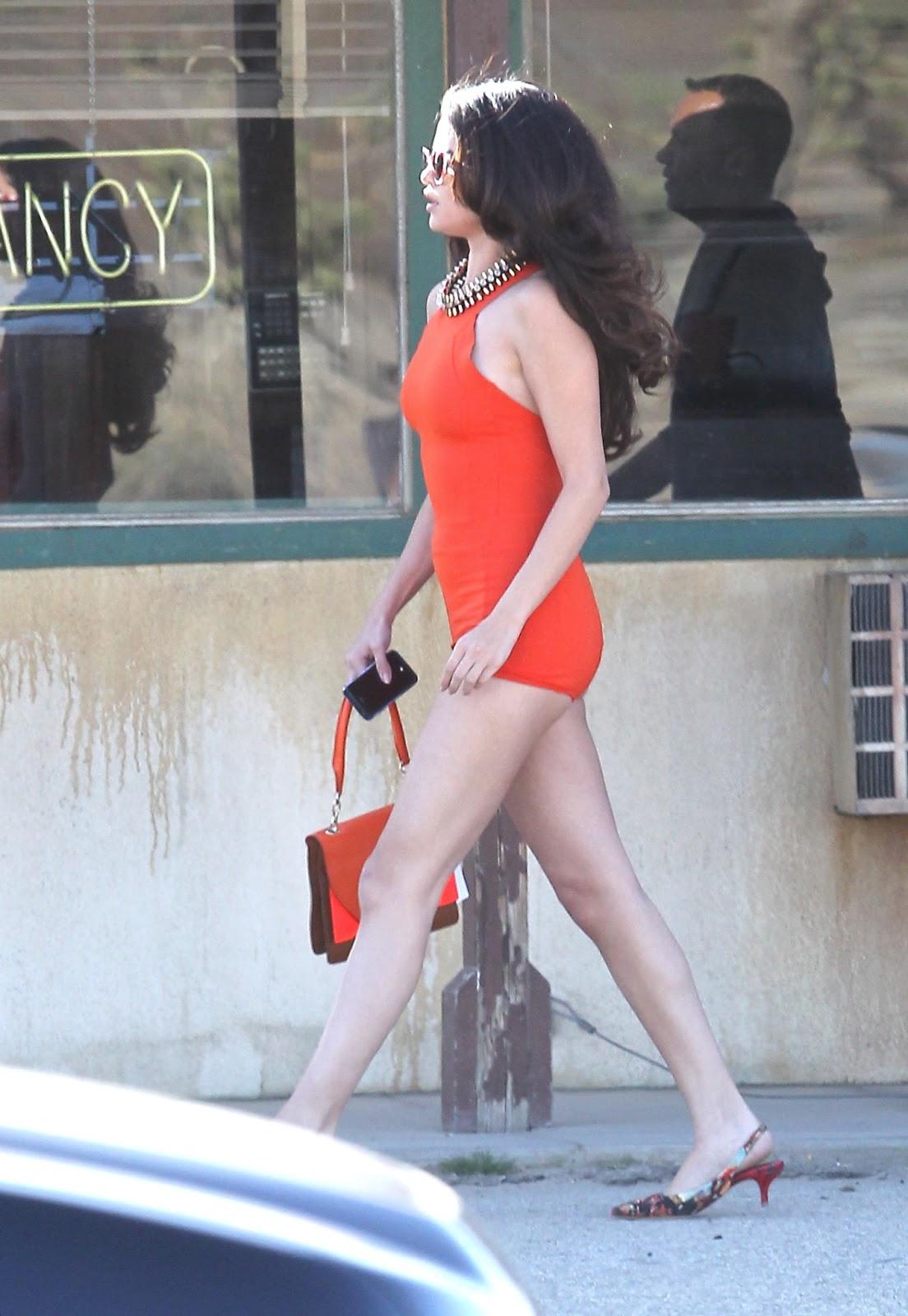 Selena Gomez Lots Of Leg Filming A Video In L A