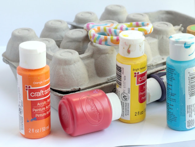 supplies - egg carton, tempera paint, googly eyes