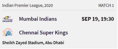Mumbai Indians match 1 ipl 2020