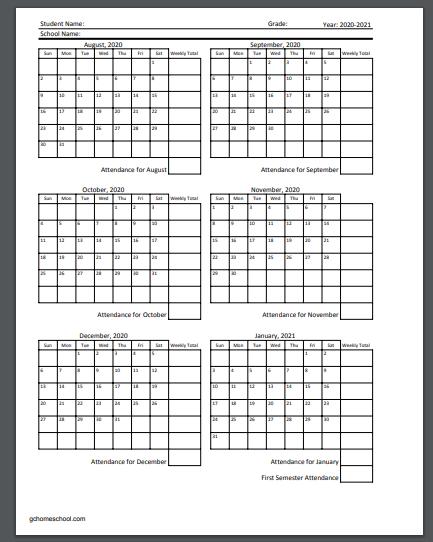 2022 Attendance Calendar Printable Free.Grace Christian Homeschool Free Homeschool Attendance Calendars 2020 2021