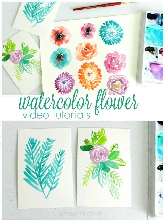 Grow creative blog three watercolor flower videos for How to paint simple watercolor flowers