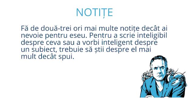 Volumul de notițe necesar pentru a scrie un eseu
