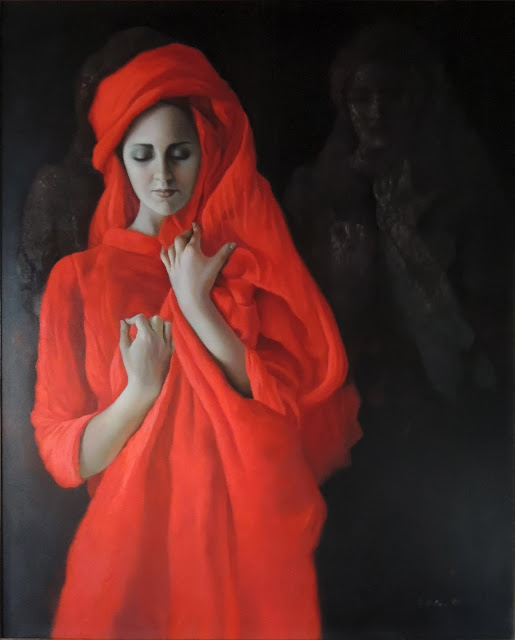 Dolores Núñez arte surrealista retrato figurativo mujer rojo