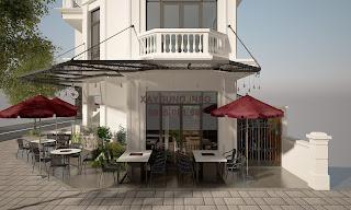 Phối cảnh bên ngoài quán cà phê - view 2