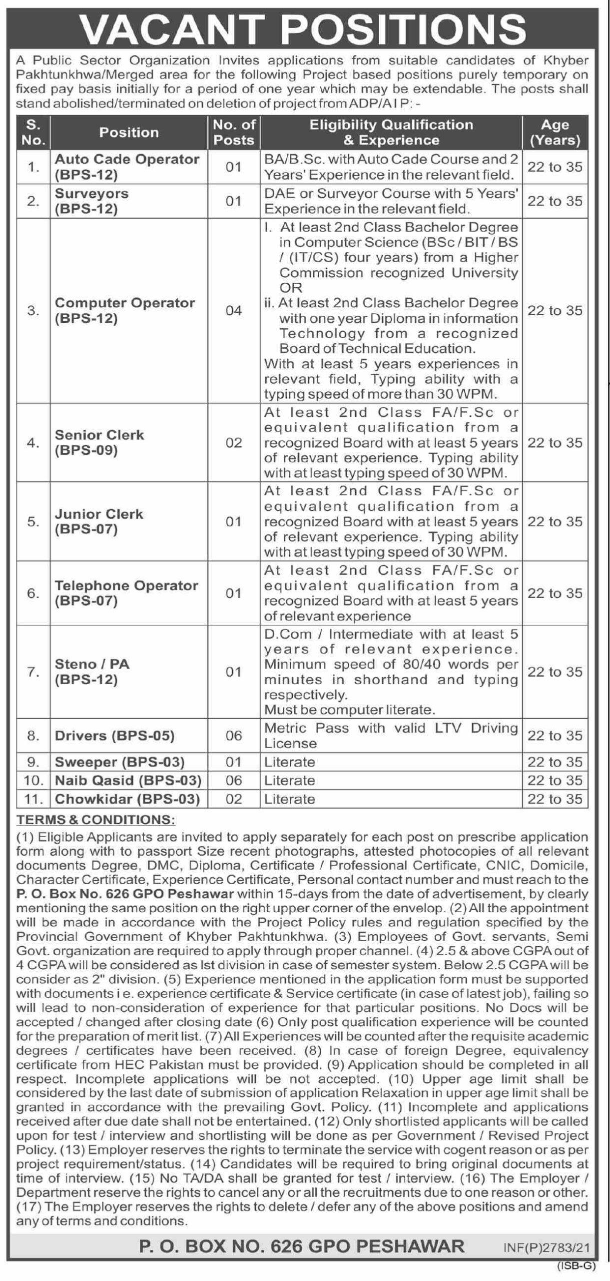 PO Box No 626 GPO Peshawar KPK  Latest Jobs 2021