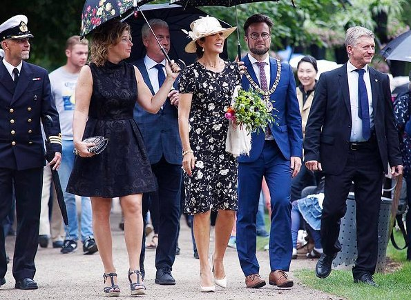 Crown Princess Mary wore a black and white floral dress by Ralph Lauren and Marianne Dulong pearl earring, Gianvito Rossi pumps