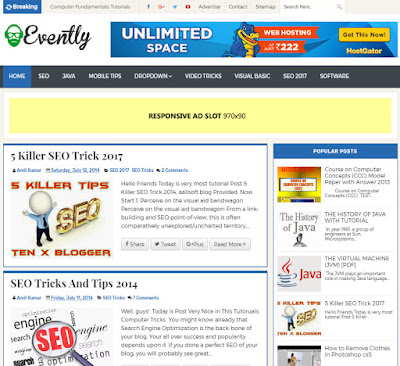 Evently Professional Blogger Template FREE