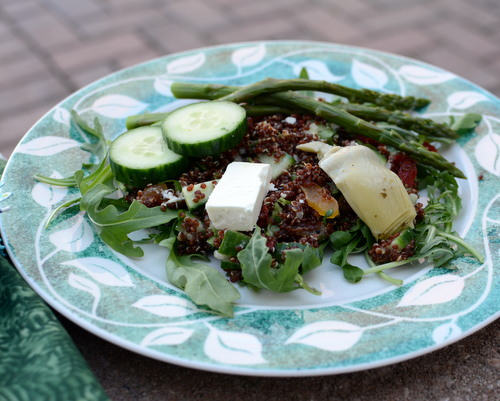 Red Quinoa Salad Your Way, another healthy concept recipe ♥ KitchenParade.com. Gluten Free. Weight Watchers Friendly.