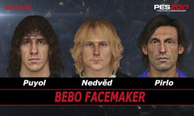 PES 2017 Faces Pavel Nedvěd, Pirlo, Puyol by Bebo