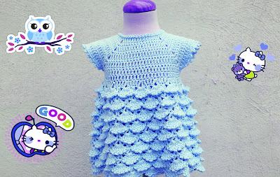 7 - Crochet Imagenes Vestido con abanicos a relieve por Majovel Crochet