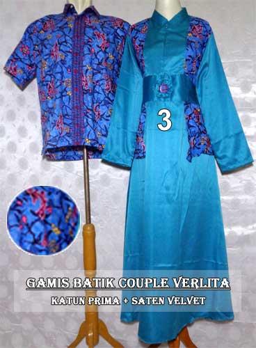 15 Model Baju Batik Couple Gamis Modern Terbaru 2017