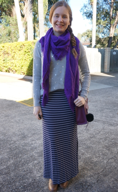 purple blanket scarf striped maxi skirt foil grey jumper SAHM style | away from blue