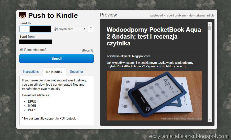zrzut z usługu Push-to-Kindle umożliwającej przesyłanie artykułow na czytnik