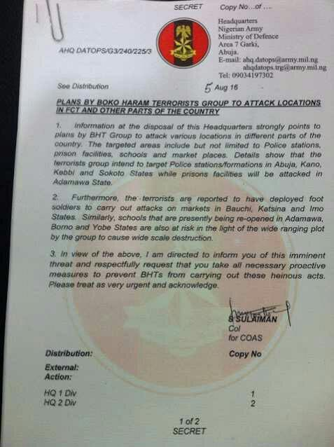 Army releases statement, says Boko Haram is plotting to attack Imo, Abuja, others