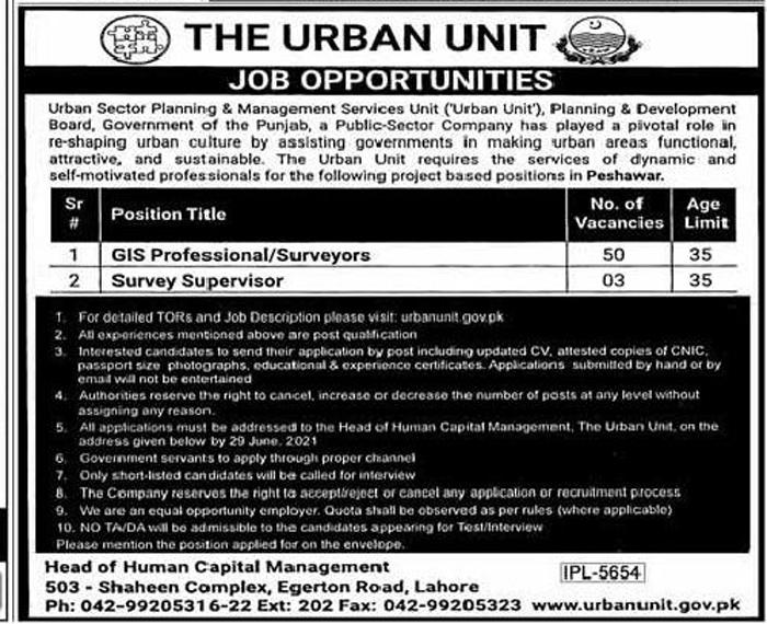 Punjab Government Urban Unit Jobs 2021 Latest Advertisement - Application Form www.urbanunit.gov.pk