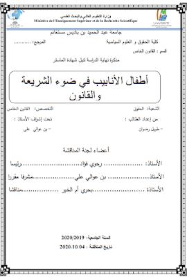 مذكرة ماستر: أطفال الأنابيب في ضوء الشريعة والقانون PDF