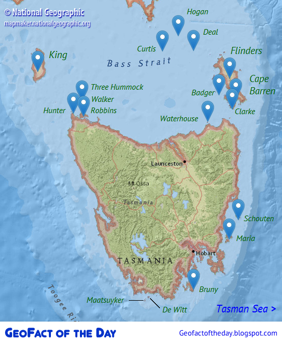 Map of islands surrounding Tasmania