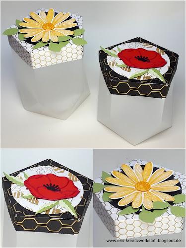 Fünfeck-Verpackung mit dem Tüten-Falzbrett und Blumen Stampin' Up! www.eris-kreativwerkstatt.blogspot.de