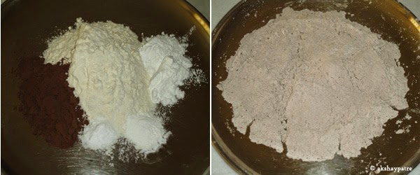 sieved maida, cron flour cocoa powder, soda,
