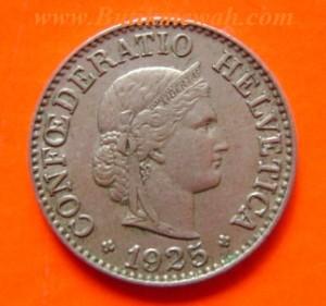 Koin kuno dari negara Swiss tahun 1925
