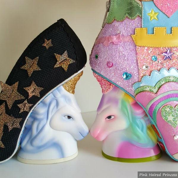 blue shaded unicorn heel facing new rainbow coloured unicorn heel