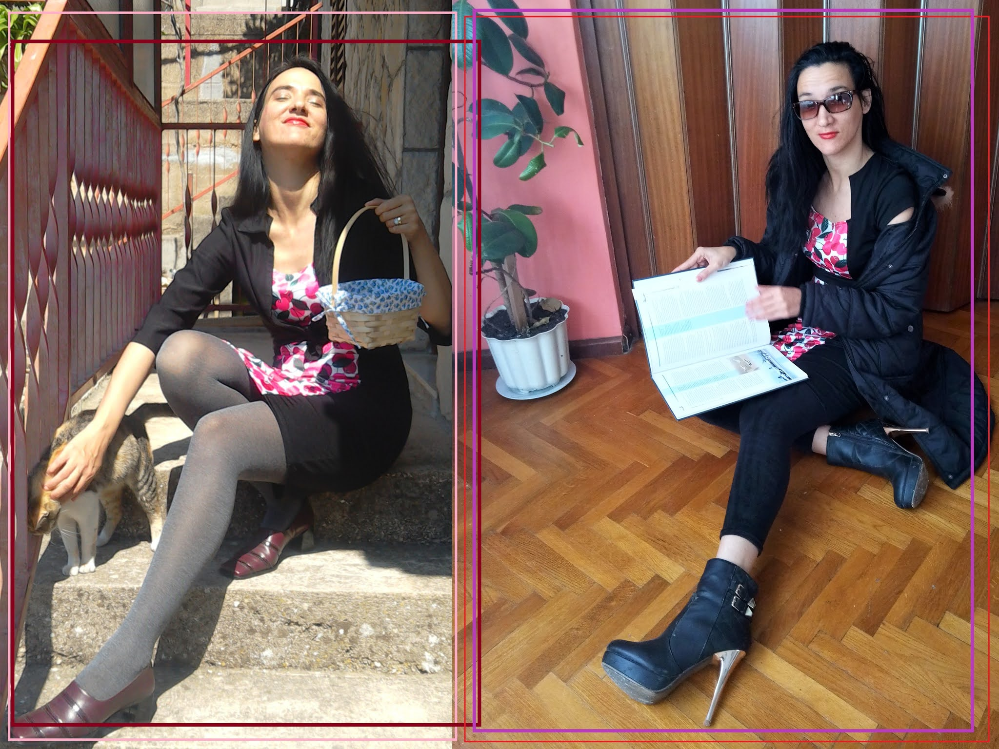 modaodaradosti layering a cherry print dress for autumn