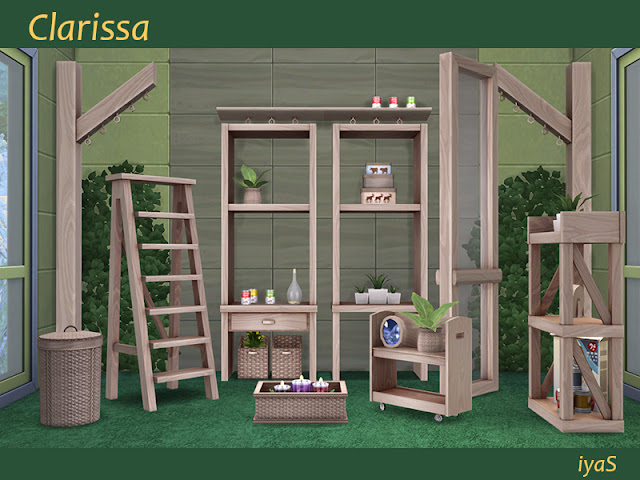 Clarissa set Набор Клариссы для The Sims 4 В набор входят 15 предметов: - 3 стеллажа с прорезями для декора, - тележка с прорезями для декора, - полка, перегородка, - лестница, - балка, - плетеная коробка с прорезями для декора, - корзина для белья, - мелкая роспись, - растение, - декоративные ящики, - консервированный суп и бутылка с ломтики лимона. Каждый объект имеет 4 цветовых вариации. Автор: soloriya
