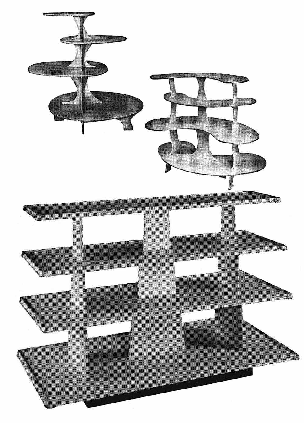 wooden in-store display tables 1953