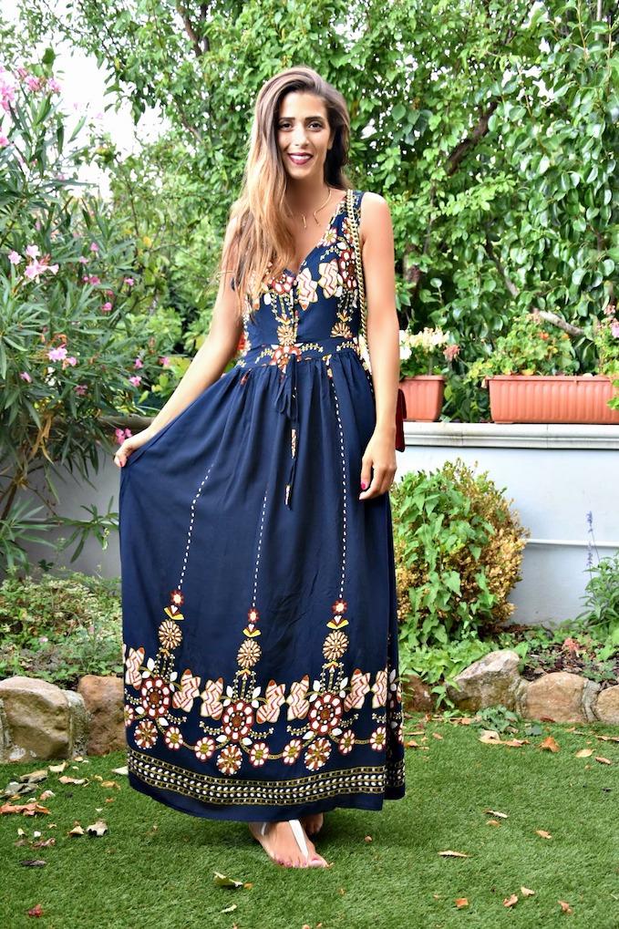 Maxi dress ricco di dettagli in perfetto stile gipsy