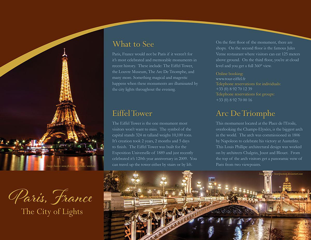 Brosur Tempat Wisata Dalam Bahasa Inggris Menara Eiffel