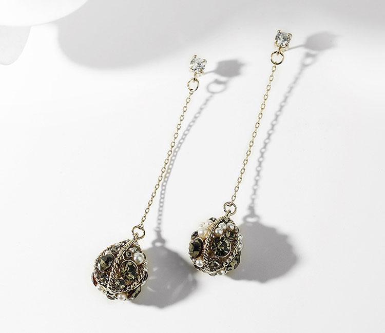 秋天的氣息復古風擬珍珠水鑽耳環