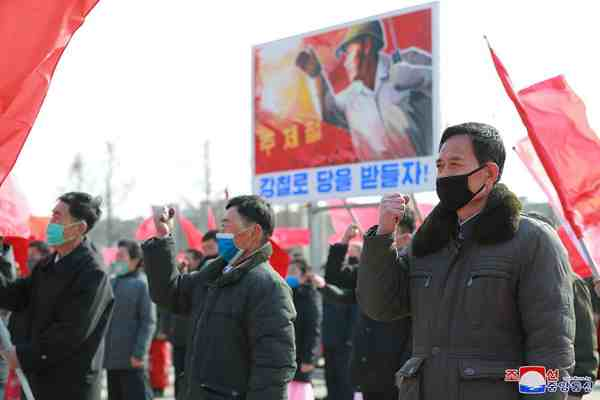 (1) Meeting of workers of Hwanghae Iron and Steel Complex